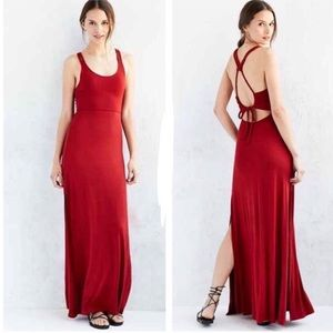 Red Maxi Dress. Open Braided Back